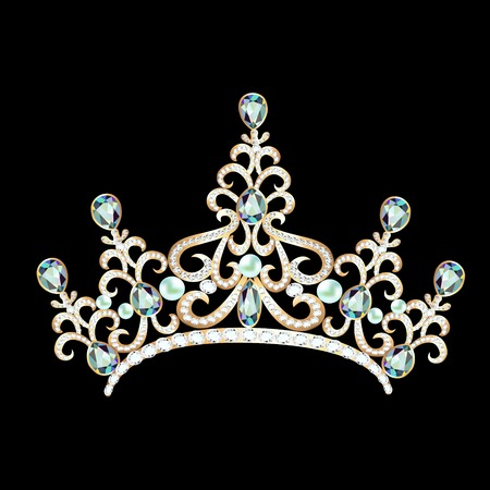 illustration diadem feminine with brilliant gems on black