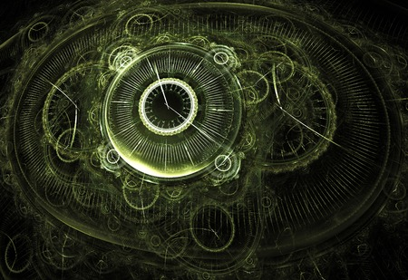 Illustration fractal background clocks and devices on a black ghost