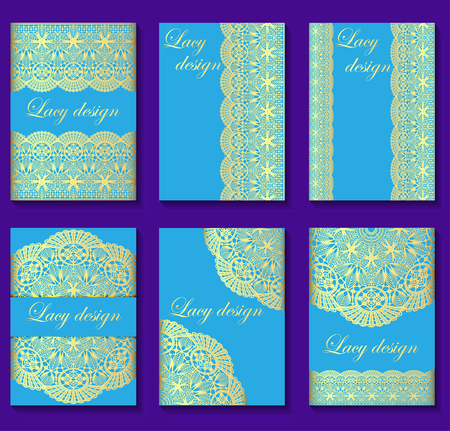 gold lace: illustration of set of vintage backgrounds with gold lace
