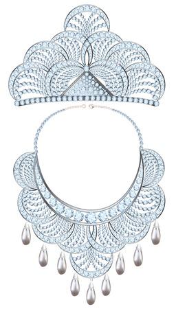 piedras preciosas: collar de ilustración de la mujer y la tiara de piedras preciosas y perlas