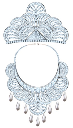 a precious: illustration womens necklace and tiara with precious stones and pearls