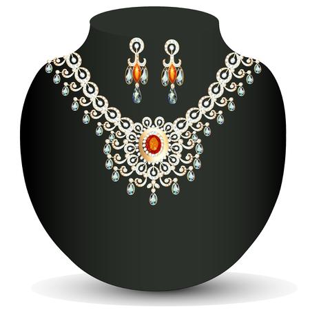 piedras preciosas: collar de ilustraci�n de la mujer con las piedras preciosas y perlas Vectores