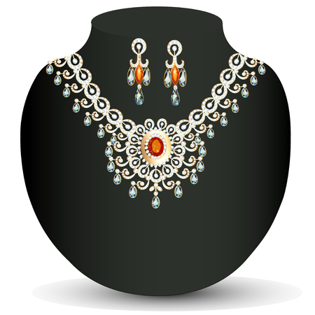 a precious: illustration womens necklace with precious stones and pearls