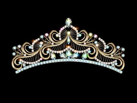 illustration women's gold diadem tiara with precious stones Vettoriali