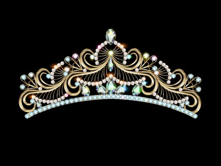 illustration womens gold diadem tiara with precious stones Çizim