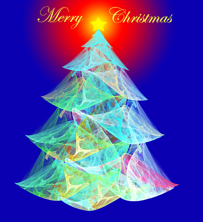 fractal illustration of a Christmas background with a tree Stock Photo