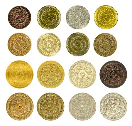 gold silver bronze: illustration of a fractal set of gold silver bronze coins medals