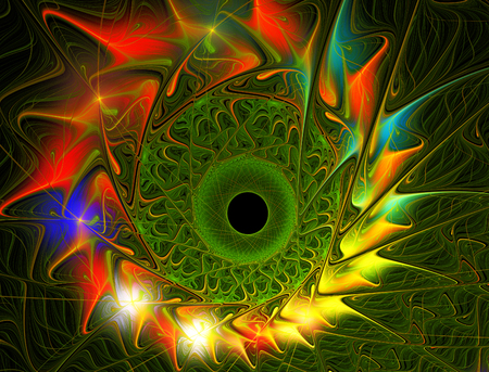 graphically: fractal illustration of bright summer sunflowers graphically