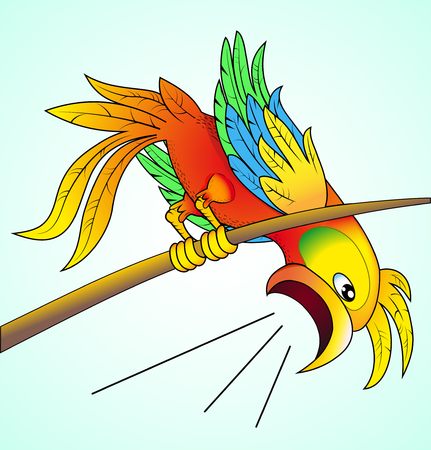 yells: illustration bright parrot yells about news which his its worry