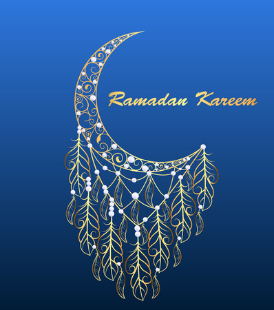 verschnörkelt: Illustration Hintergrund Grußkarte mit einem Mond auf dem Fest des Ramadan Kareem