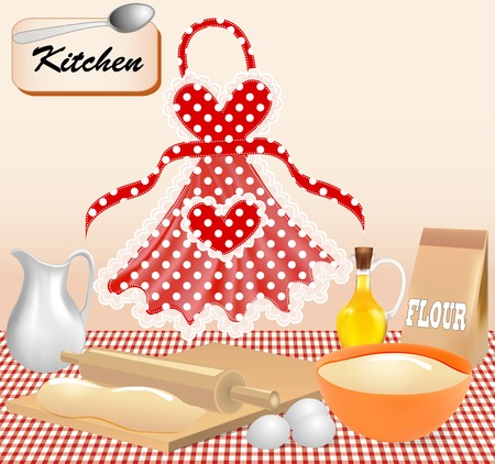 raw egg: Illustration background with test kitchen apron and eggs Illustration