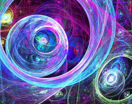 fractal flame: illustration of a fractal abstract background with circles Stock Photo