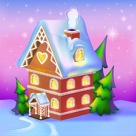 tree house: illustration of dreamlike cottage in the snow Illustration