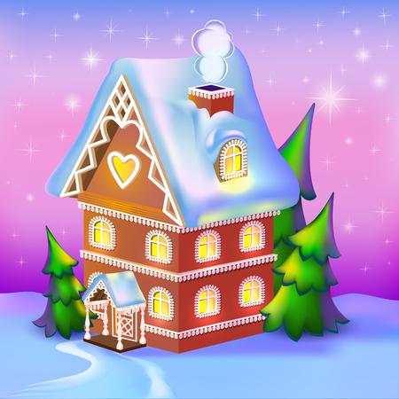 dreamlike: illustration of dreamlike cottage in the snow Illustration