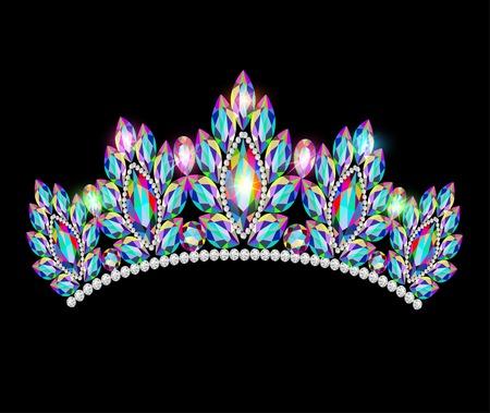corona reina: mujeres ilustración corona tiara de brillantes piedras preciosas Vectores