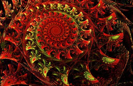 fractal background: fractal illustration of a bright red spiral with floral patterns