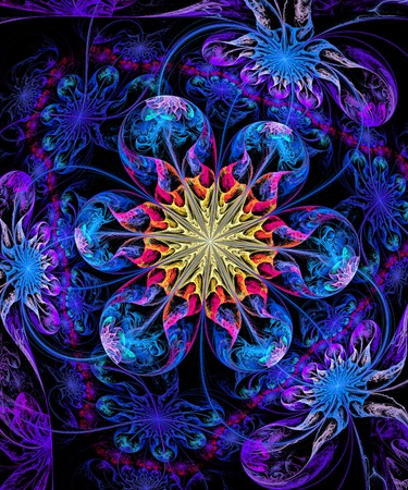 fractal illustration of bright background with floral ornament Stock Photo
