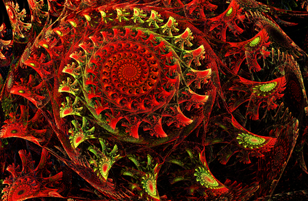 awakening: fractal illustration of a bright red spiral with floral patterns