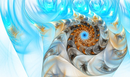nautilus shell: illustration of a fractal shell on the sea