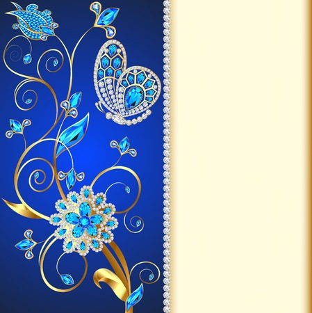 personal accessories: illustration background with butterflies and ornaments made of precious stones