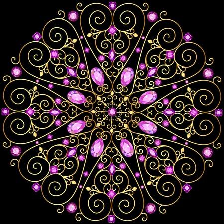 marcos decorativos: Ilustración de fondo adornos circulares de piedras preciosas Foto de archivo