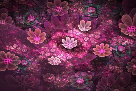 fields of flowers: illustration background fractal bright  fields of flowers Stock Photo