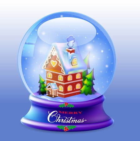 defaced: illustration Christmas Snow globe with a house and trees