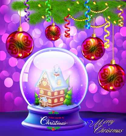 christmas snow globe: illustration Christmas Snow globe with a house and trees