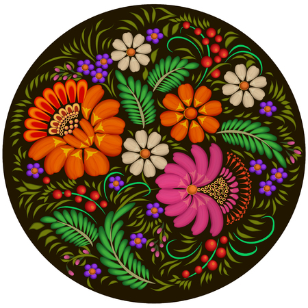 flower ornament: illustration background painted with flowers and berries in a circle