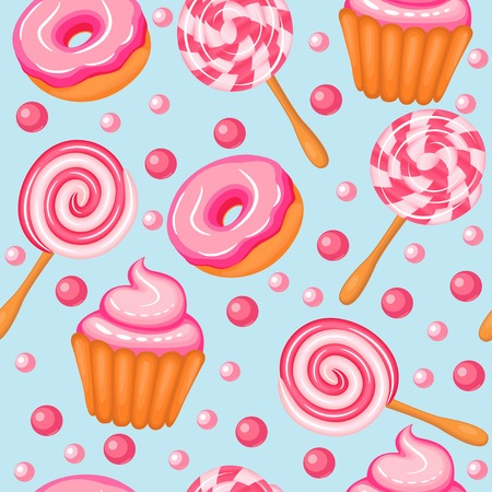 sweet background: illustration background seamless sweet donuts candy cupcakes