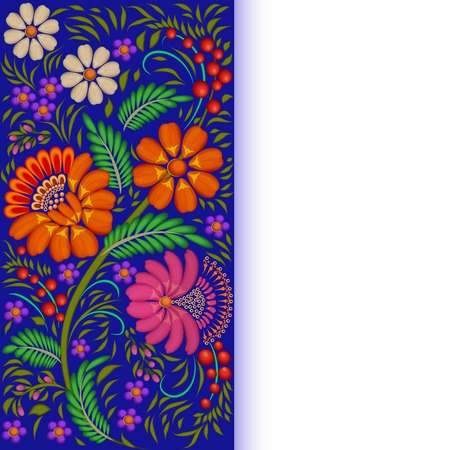 painted background: illustration background painted with flowers and berries