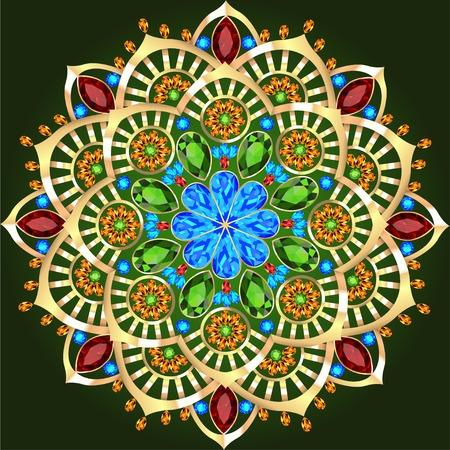 marcos decorativos: Ilustración de fondo adornos circulares de piedras preciosas Vectores