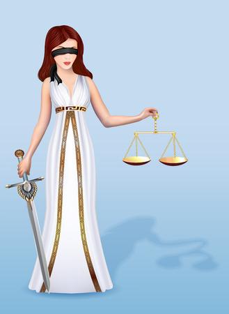Illustration einer Frau Femida Göttin der Gerechtigkeit mit Waage und Schwert
