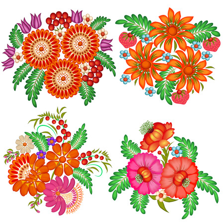 russian: illustration set of hand-painted bouquets of flowers and berries