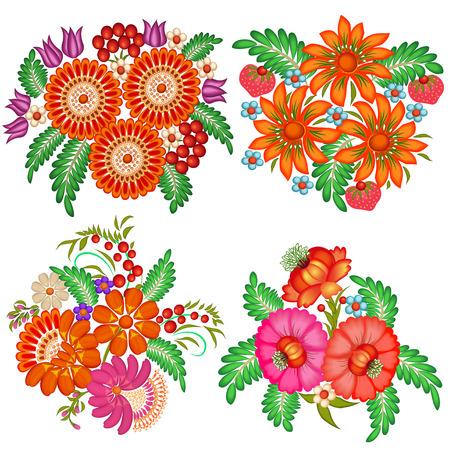 ramo de flores: Ilustración conjunto de ramos de flores pintadas a mano de flores y bayas Vectores
