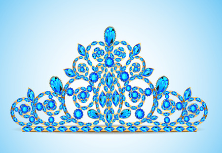 illustration womens gold diadem tiara with precious stones Illustration