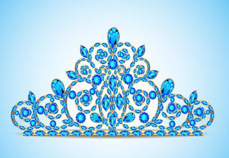 piedras preciosas: tiara diadema de oro ilustraci�n de la mujer con piedras preciosas
