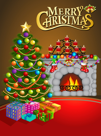 stars night: illustration Christmas greeting card with candles Christmas tree and fireplace Stock Photo