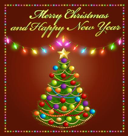 illuminated: illustration Christmas tree with glowing festive garlands