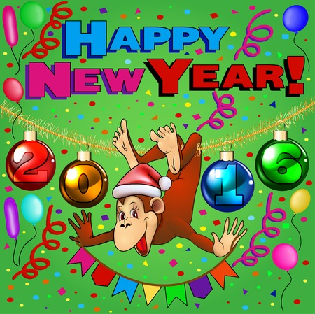 shapes cartoon: postcard illustration of a monkey hanging on the tinsel with Christmas balls