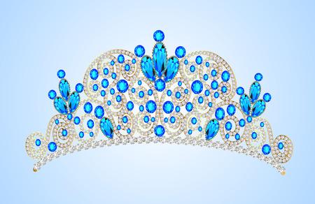 precious: illustration womens gold diadem tiara with precious stones Illustration