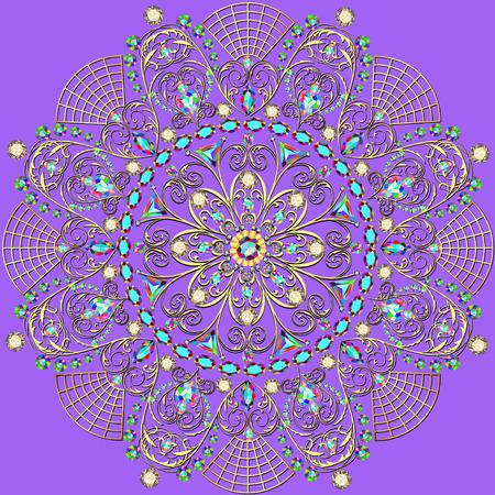 piedras preciosas: ilustración de fondo con una circular adornos de oro con piedras preciosas
