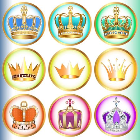 pietre preziose: illustrazione set di corone con pietre preziose