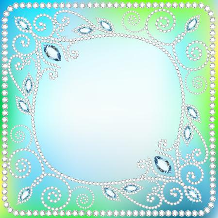 piedras preciosas: marco de ilustración de fondo con adornos de piedras preciosas