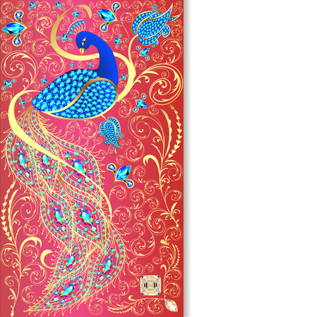 Abstract design: illustration background with peacock with gold ornament and precious stones Illustration