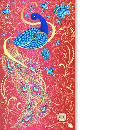peacock feathers: ilustración de fondo con el pavo real con ornamentos de oro y piedras preciosas