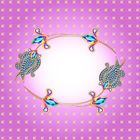 precious stones: illustration background frame with gold and precious stones