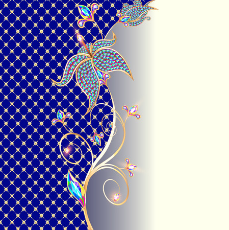 precious stones: illustration background with floral ornaments made of precious stones and gold