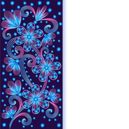 precious stones: illustration background with floral ornaments made of precious stones Illustration