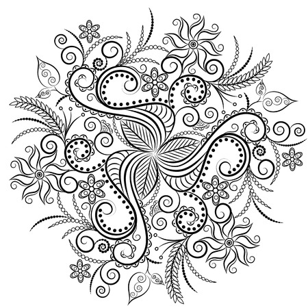 antistress: Monochrome Floral Background. Hand Drawn Ornament with Flowers. Template for Greeting Card Illustration